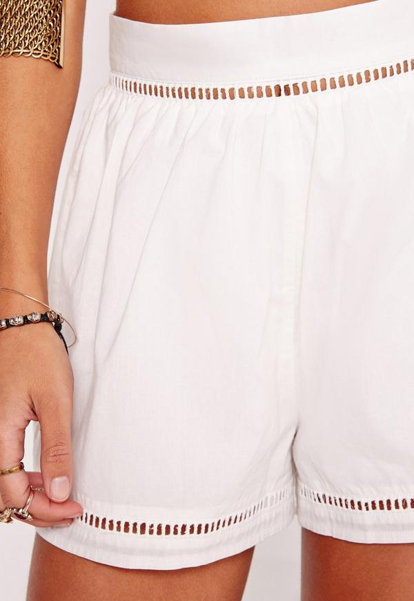 Ladder Insert High Waisted Shorts White | Missguided