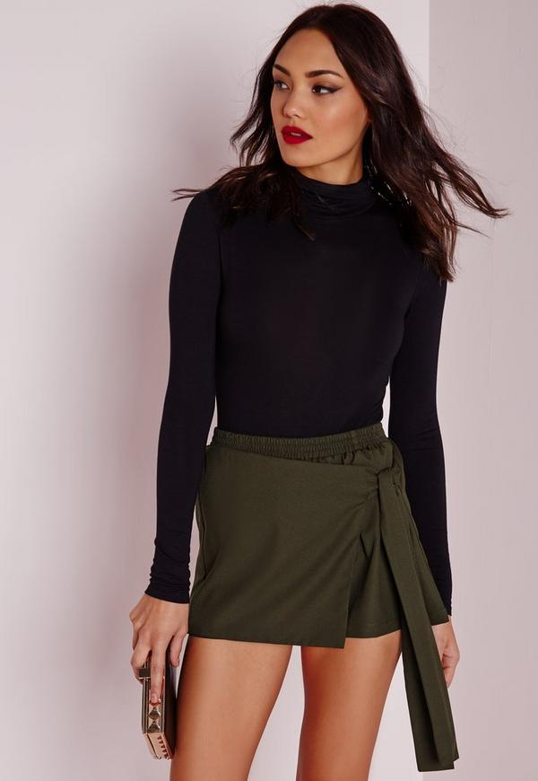 wrap over skort khaki