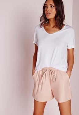 Tie Waist Detail Faux Leather Shorts Nude