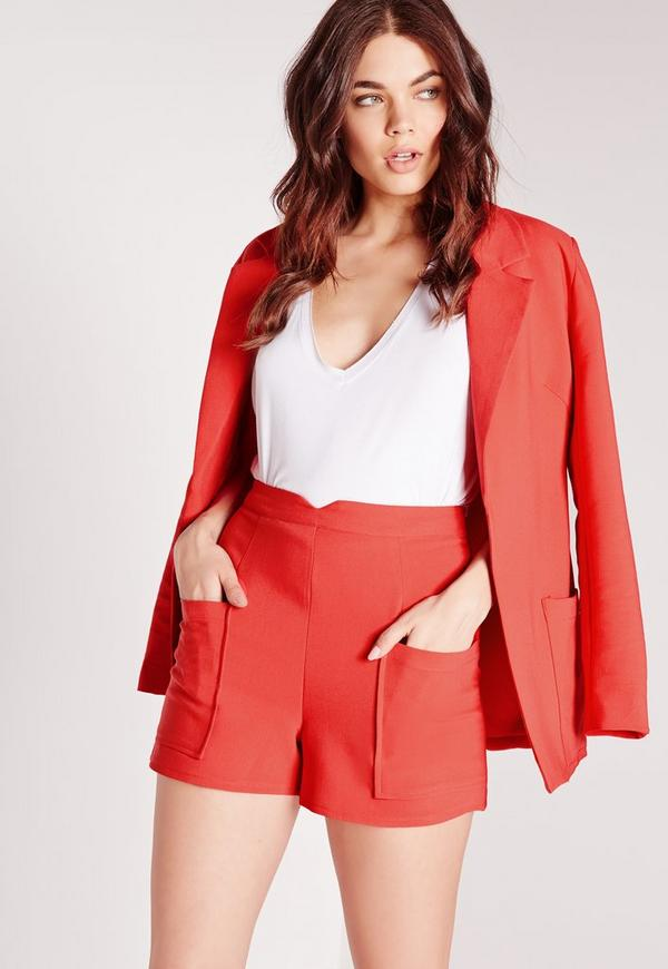 Pocket Detail High Waist Shorts Red