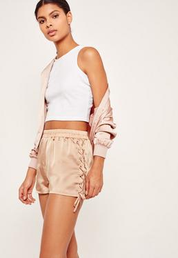 Lace Up Side Satin Shorts Nude