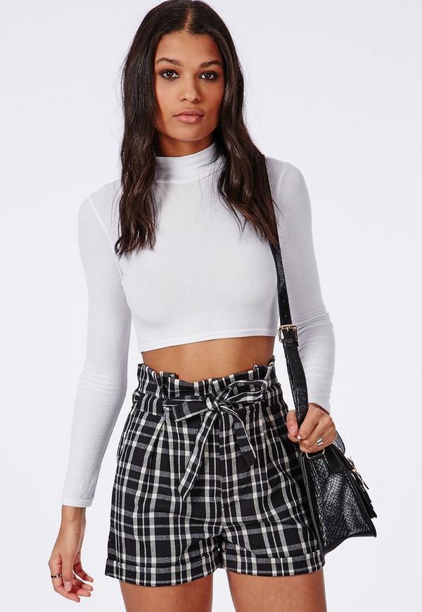Greta Paperbag Checked High Waisted Shorts Black