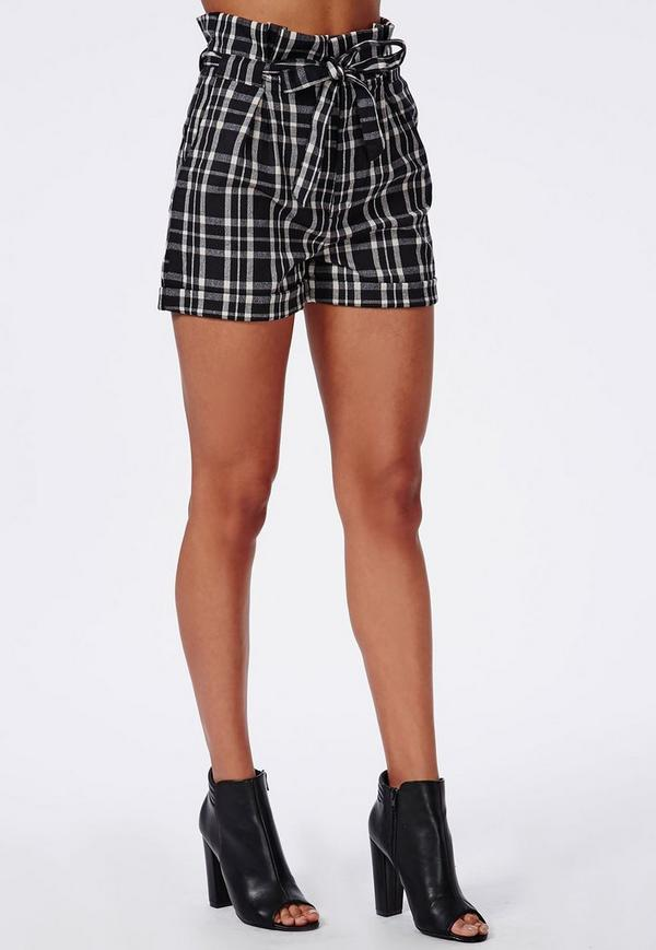 Greta Paperbag Checked High Waisted Shorts Black | Missguided