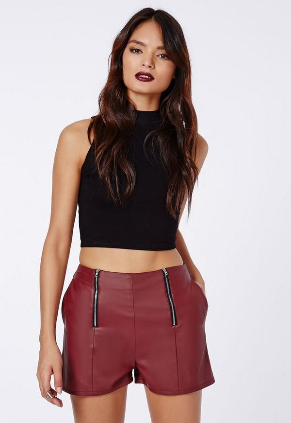 Carliee Faux Leather High Waist Shorts Burgundy