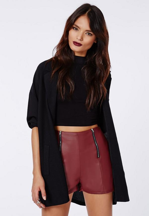 Carliee Faux Leather High Waist Shorts Burgundy | Missguided