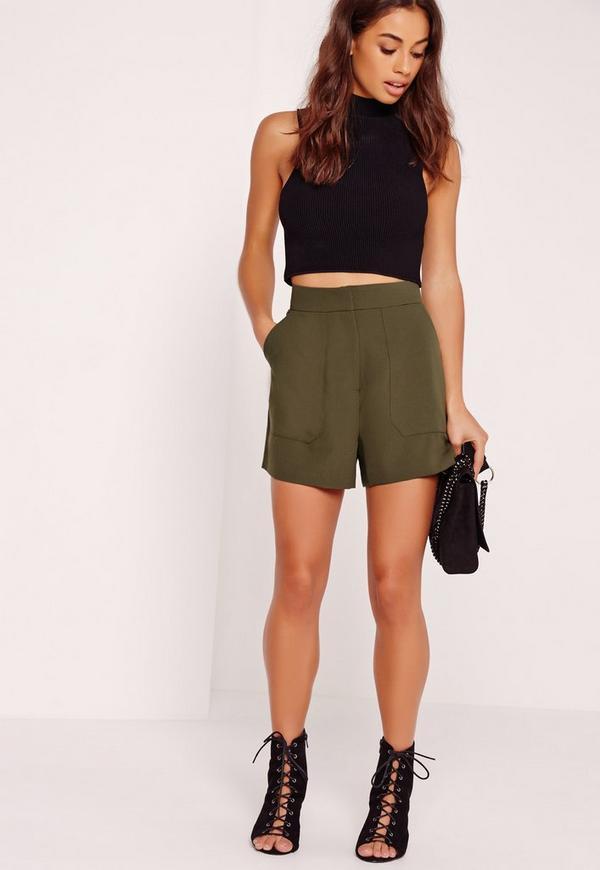 Front Pocket Tailored Shorts Khaki