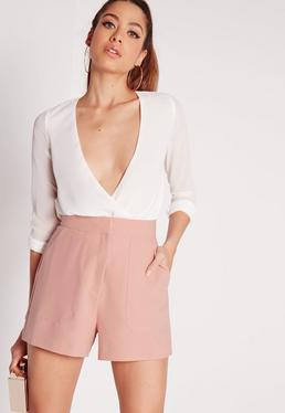 Front Pocket Tailored Shorts Pink