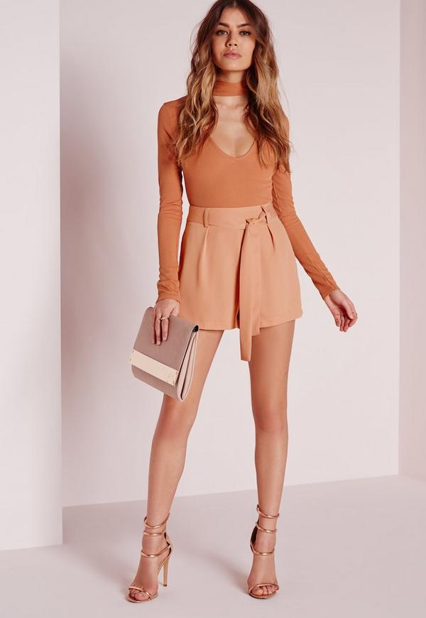Tie Waist Detail Crepe Tailored Shorts Camel