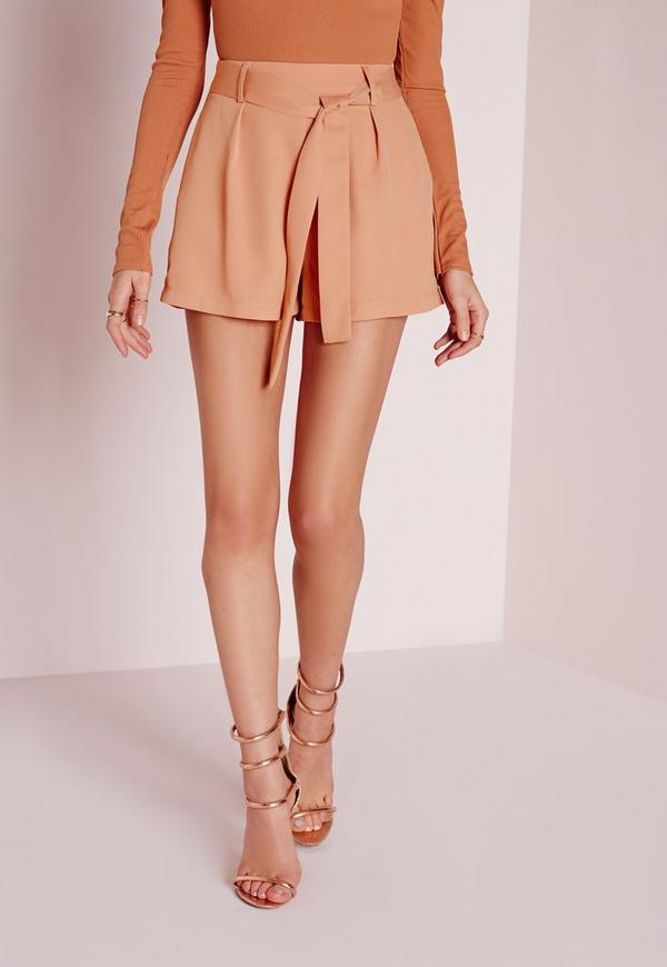 Tan Faux Leather Tie Detail Cigarette Trousers | Missguided