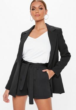 Black Tie Waist Detail Crepe Tailored Shorts