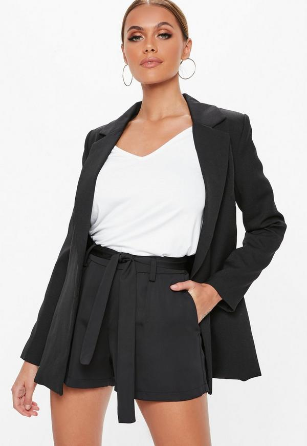 Black Tie Waist Detail Crepe Tailored Shorts