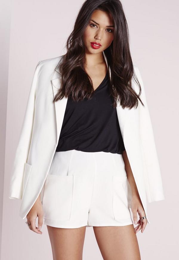 Pocket Detail High Waist Shorts White