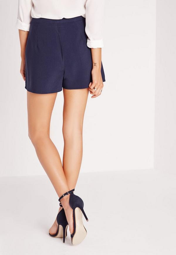 Pocket Detail High Waist Shorts Navy | Missguided