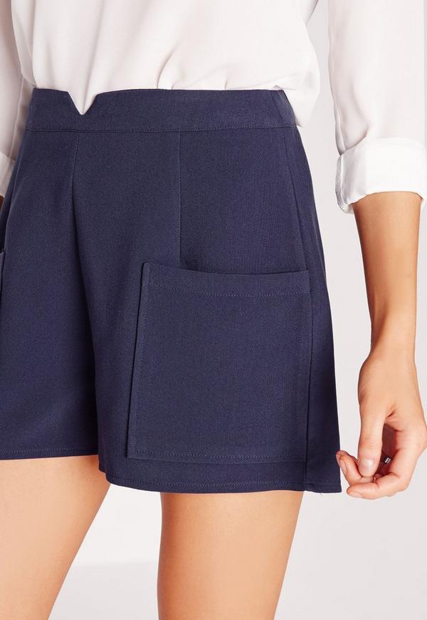 Pocket Detail High Waist Shorts Navy | Missguided