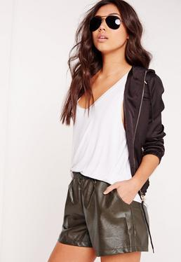 Elasticated Waist Faux Leather Shorts Khaki