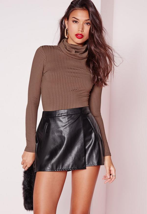 Pocket Detail Faux Leather Skort Black