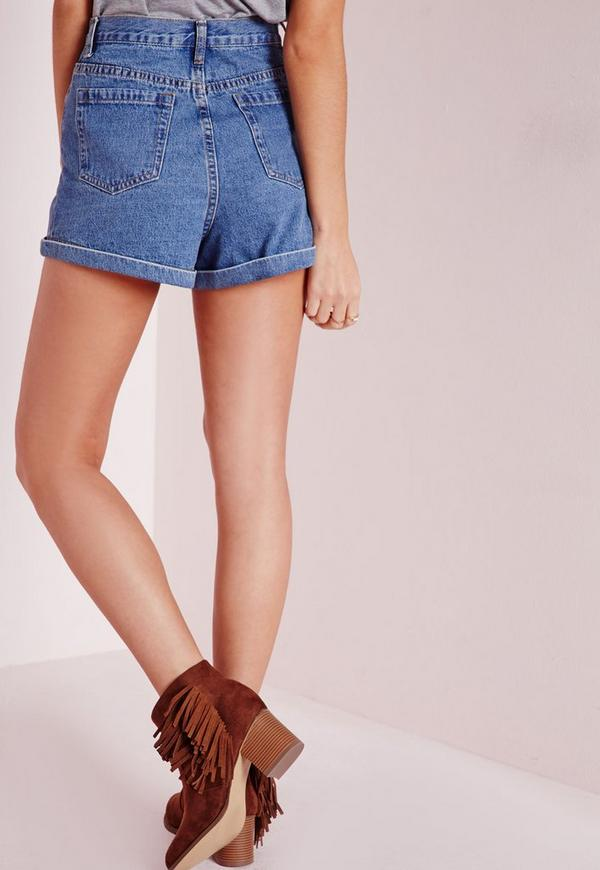 Button Front High Waisted Denim Shorts Vintage Blue | Missguided
