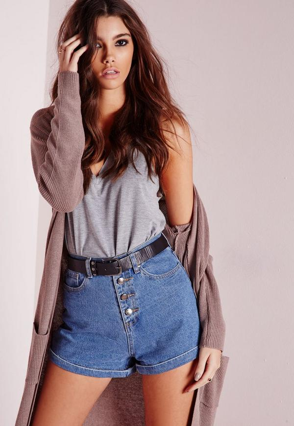 button front high waisted denim shorts vintage blue