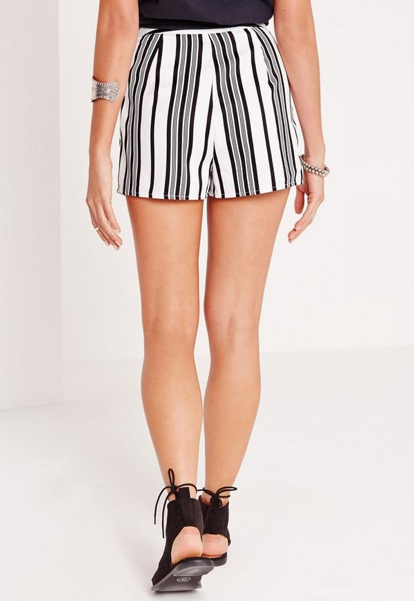 Stripe High Waisted Shorts White | Missguided