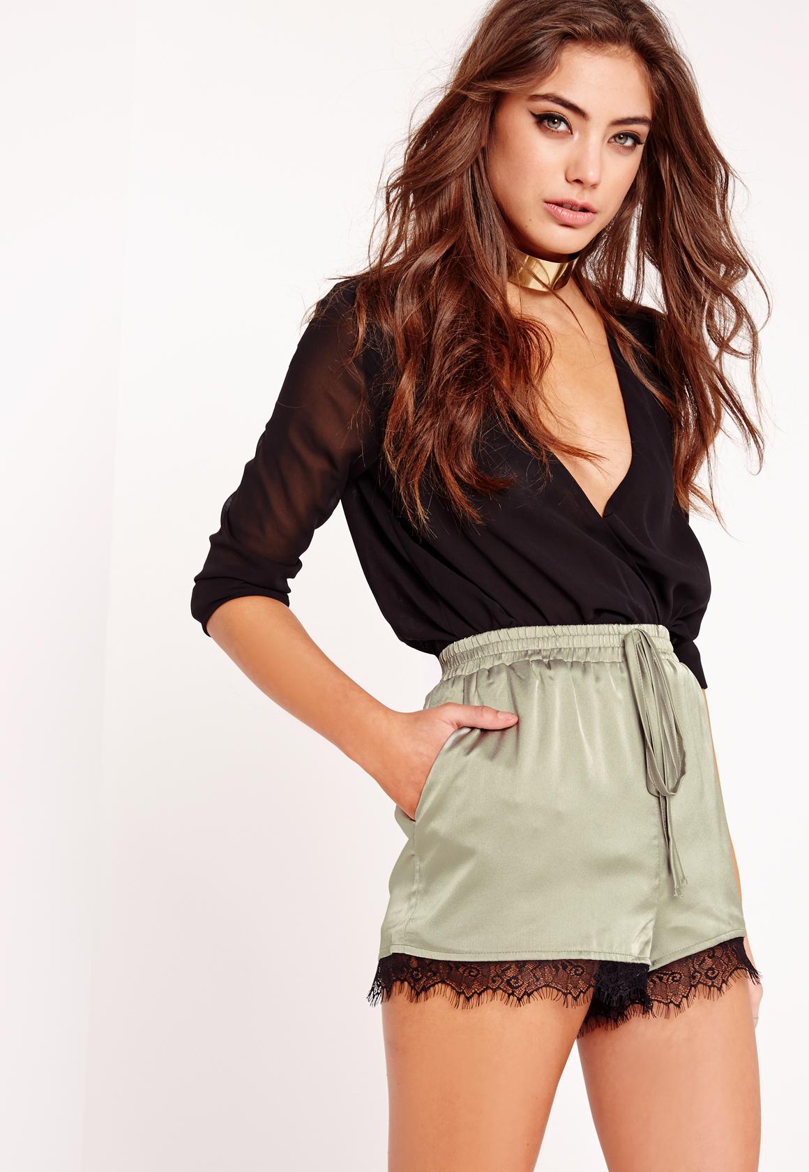 Silk Lace Hem Shorts Khaki | Missguided