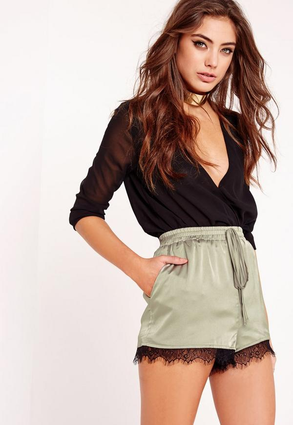 Silk Lace Hem Shorts Khaki