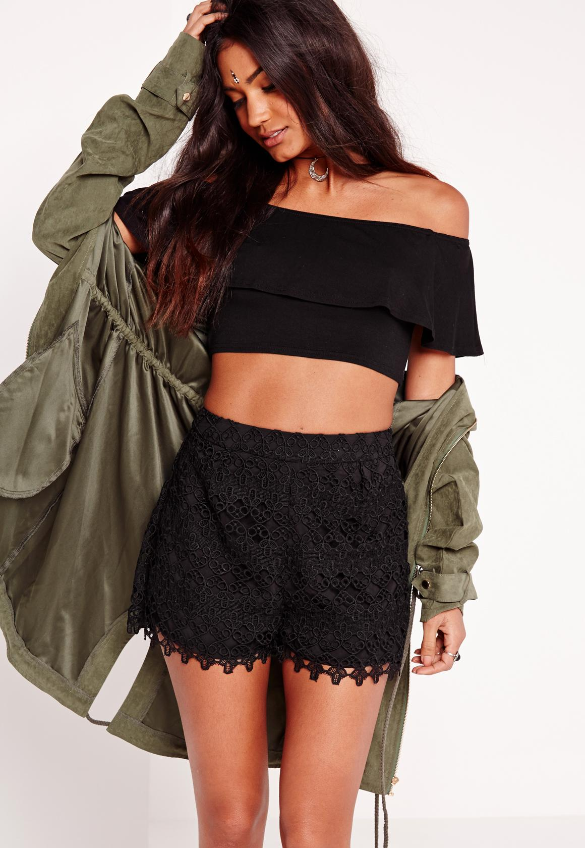 Lace High Waisted Shorts Black | Missguided