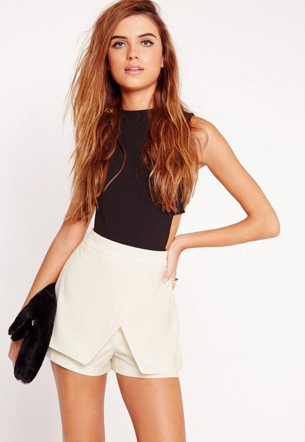 Layer Detail High Waist Skort White