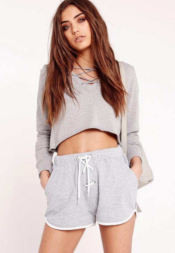 Lace Up Loopback Jersey Shorts Grey