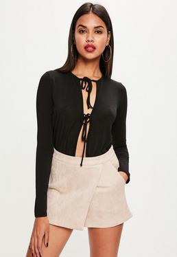 Beżowe zamszowe spódnico-spodnie