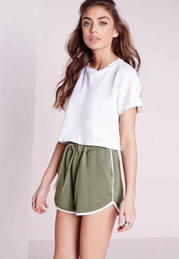 Contrast Trim Basic Runner Shorts Khaki