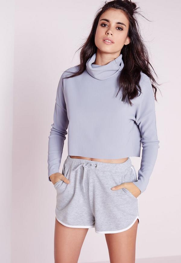 Contrast Trim Basic Runner Shorts Grey