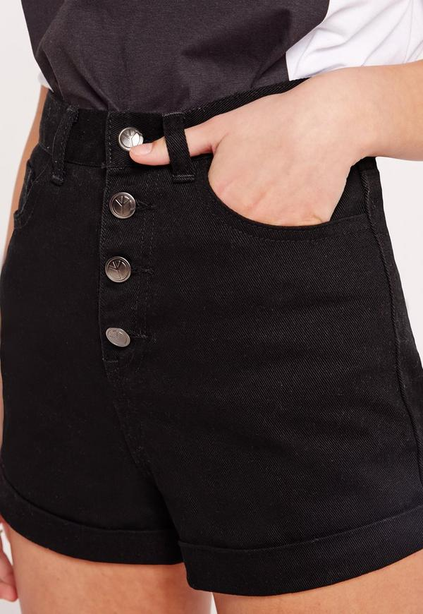 Button Front High Waisted Denim Shorts Black | Missguided