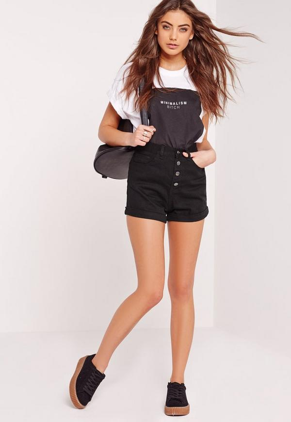 button front high waisted denim shorts black missguided. Black Bedroom Furniture Sets. Home Design Ideas