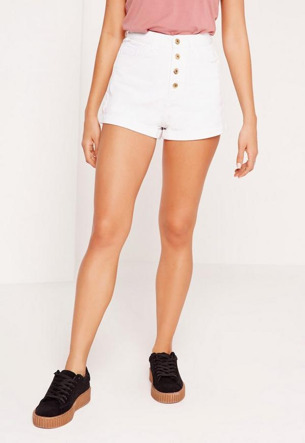 Plus size high waisted white shorts