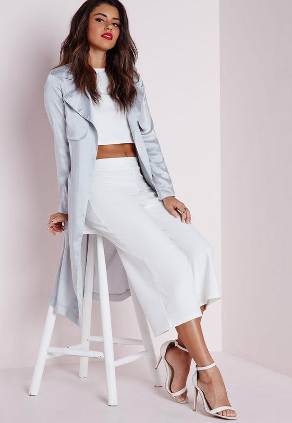 High Waisted Crepe Culottes White
