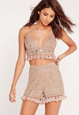 Beaded Sequin Tassel Shorts Nude