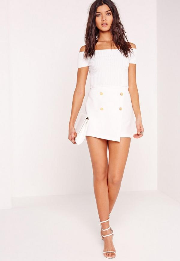 Button Front Tailored Shorts White
