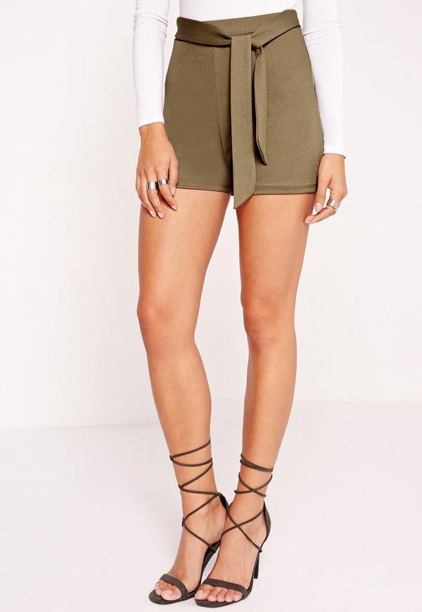 Tie Belt High Waisted Shorts Khaki | Missguided