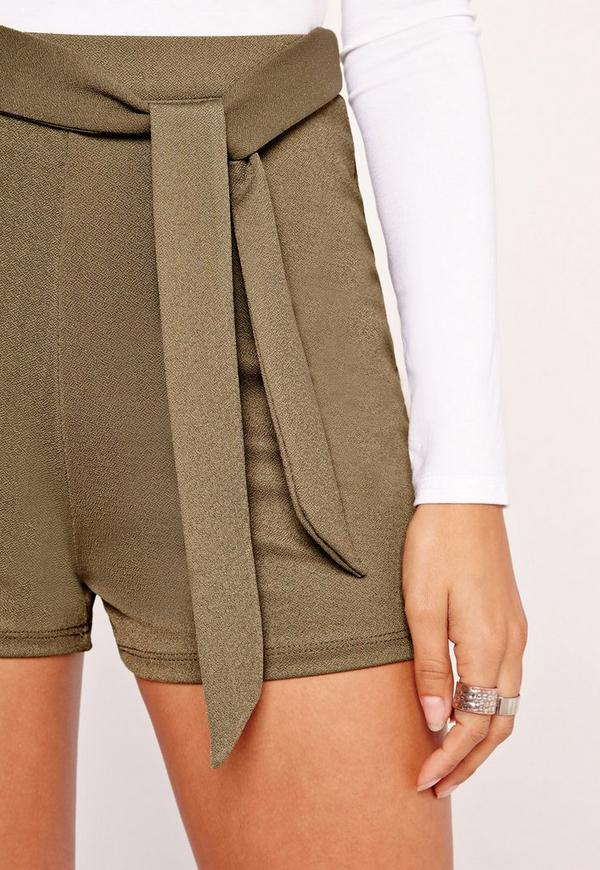 Tie Belt High Waisted Shorts Khaki
