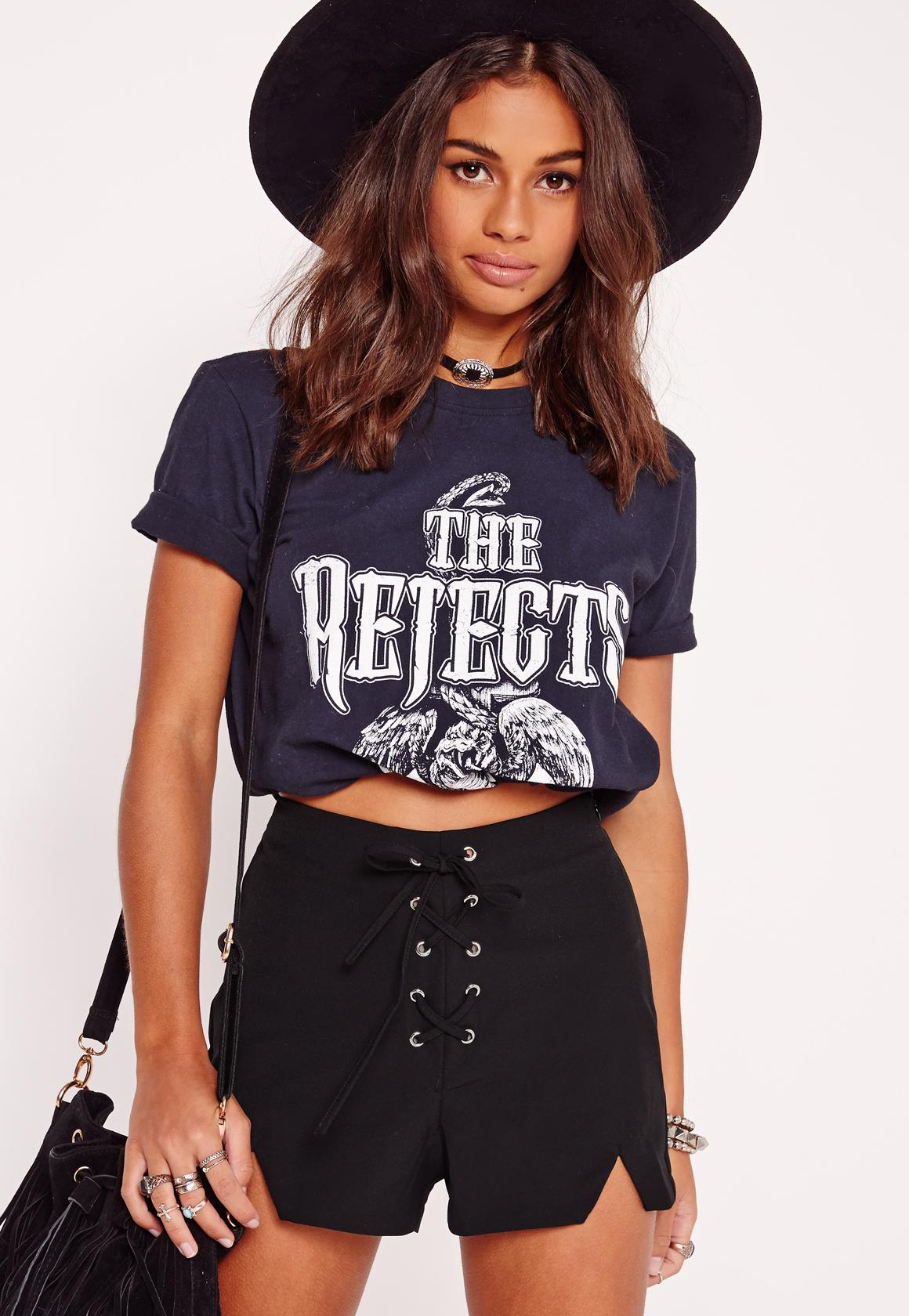 Lace Up Front High Waisted Shorts Black   Missguided