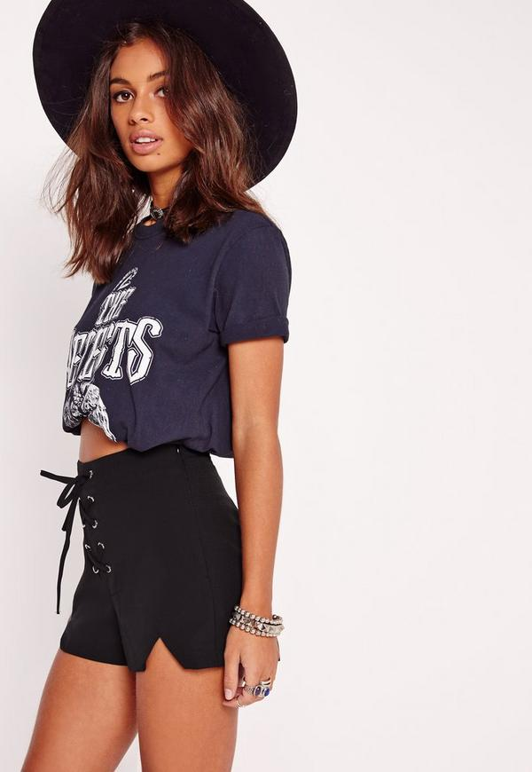 Lace Up Front High Waisted Shorts Black | Missguided