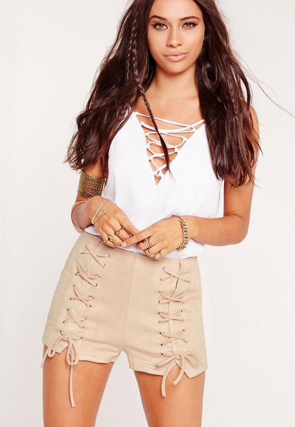 Faux Suede Lace Up Shorts Nude