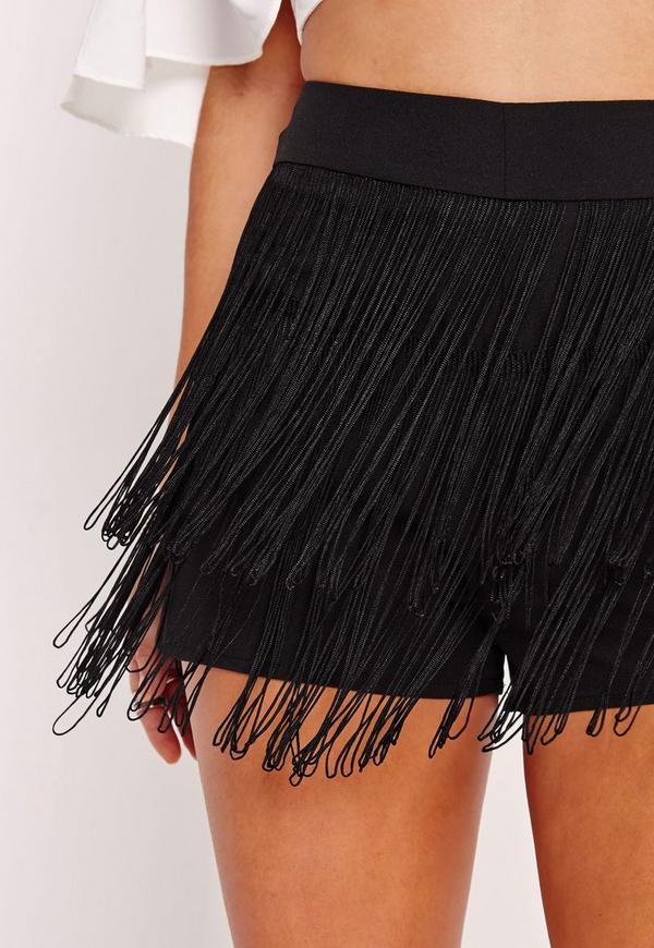 Fringe Detail Hotpants Black Missguided