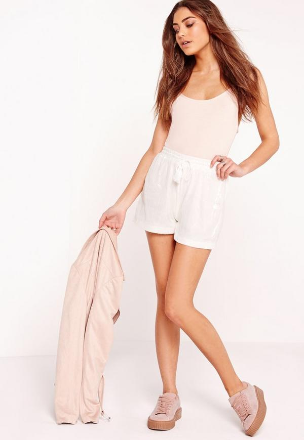 Sequin High Waist Runner Shorts White