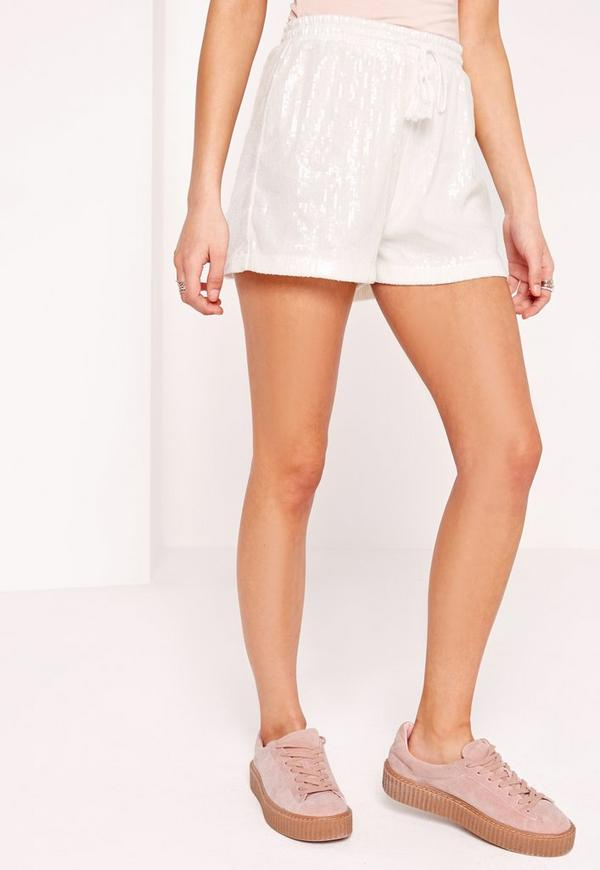 Sequin High Waist Runner Shorts White | Missguided