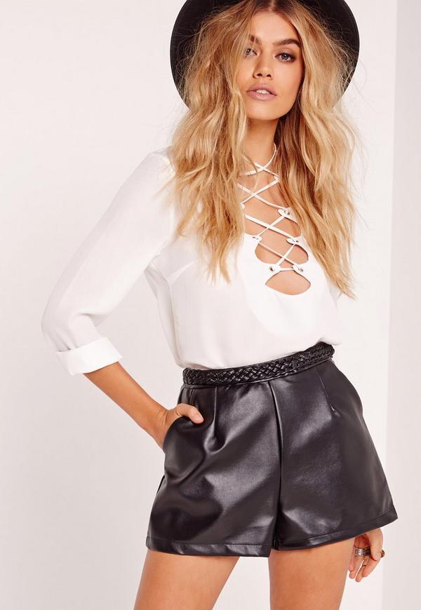 Plait Detail Faux Leather Shorts Black