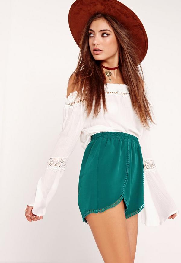 Crochet Insert Trim Wrap Shorts Green