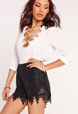 Lace Hem Wrap High Waisted Shorts Black