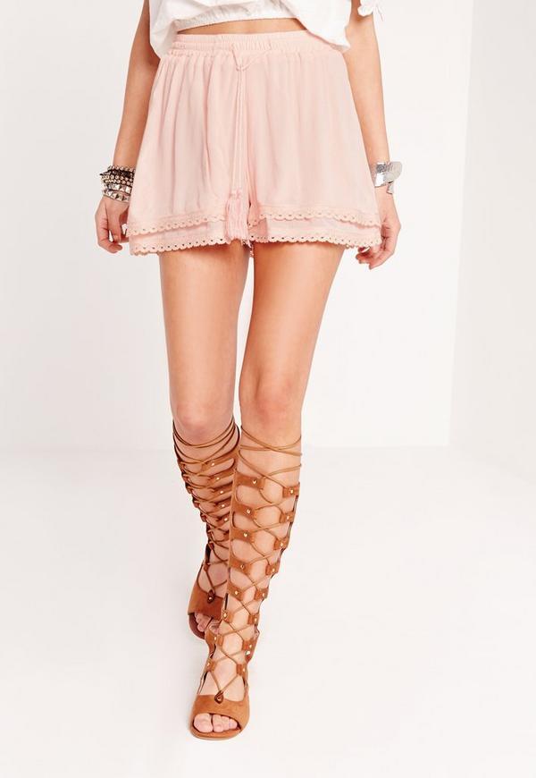 Crochet Trim High Waist Runner Shorts Pink - Missguided