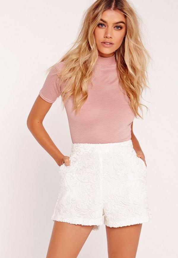 premium lace high waisted shorts white